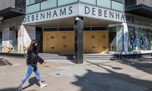 Debenhams in London's Oxford Street is boarded up during the coronavirus lockdown.