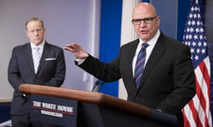National security adviser HR McMaster takes questions from the press, as Sean Spicer looks on. McMaster said the real threat came from leaks to the press.