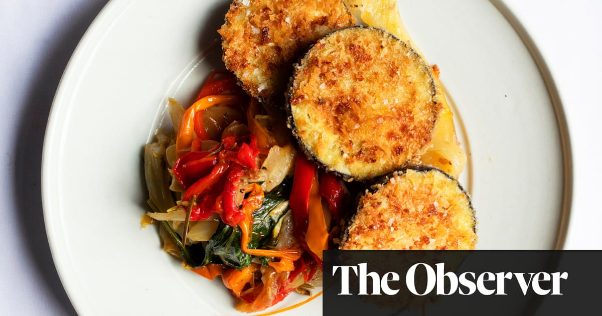 Nigel Slater's recipe for crumbed aubergines with peppers and fennel