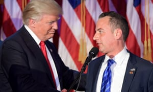 Reince Priebus (right) with Donald Trump on election night.