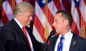 Trump with Reince Priebus on election night. Trump said on Friday: 'Reince is a good man. John Kelly will do a fantastic job. He's a great, great American.'