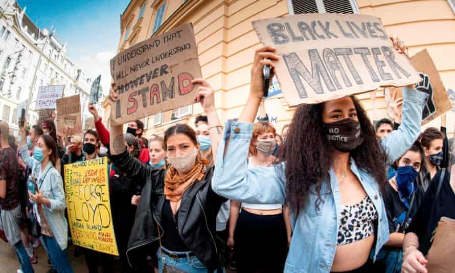 A Black Lives Matter march in Vienna, Austria.