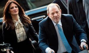 Harvey Weinstein arrives at the Manhattan criminal court with his lawyer Donna Rotunno