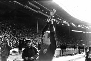 Bobby Moore shows off the Jules Rimet trophy to the fans