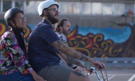Three cyclists in Gothenburg