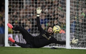 Alisson Becker dives as Alex Tettey's strike rattles the foot of the post