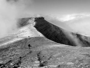 During a family hike in the Brecon Beacons, south Wales, clear skies gave way to swirling cloud over Pen y Fan and Corn Du summits. Shaded hillside contrasted nicely with the clouds, ideal conditions for a black and white photograph