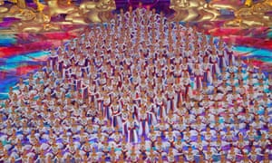 Beijing, China. Dance artists perform during the Asian culture carnival at the national stadium.