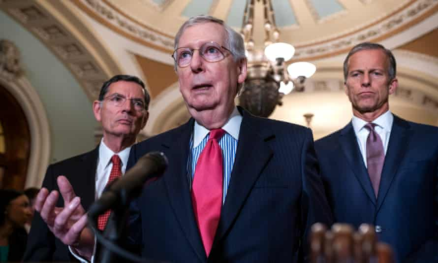 Mitch McConell with fellow senators John Thune and John Barrasso. Republicans working on down-ballot 2020 races believe GOP has a big, white, male problem on its hands.