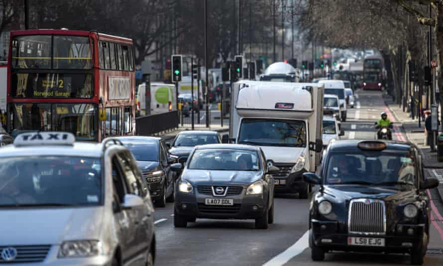 Vehicles pass along Marylebone Road in London in February