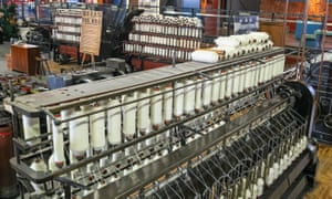 Cotton-weaving looms at the Science and Industry Museum, Manchester.