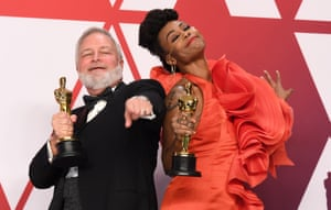 Wakanda forever! Hannah Beachler and Jay Hart pose with their Oscars for best production design on Black Panther