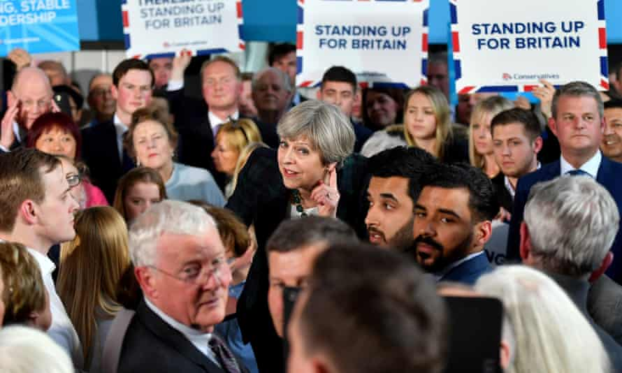 Theresa May speaks at the campaign event at the Shine centre in Leeds.