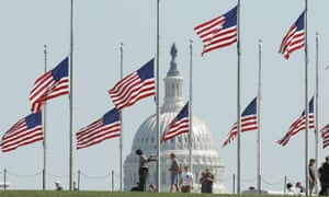 Flags are lowered to half mast in Washington DC on Monday after the mass shooting that left more than 50 dead in Las Vegas