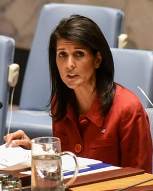 Nikki Haley at a security council meeting at the UN headquarters in New York.