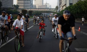 A car-free day in Jakarta, 2012.