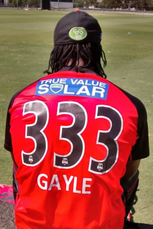 Chris Gayle allocated himself the shirt number 333, which is his highest Test score, after arriving at the Renegades.