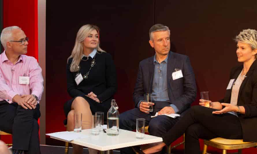 The Guardian Business Made Simple event, supported by Vodafone. (From left) Tony Hague, Judith Armstrong, Phillip Inman (economics editor of the Observer who chaired the debate) and Jodie Cook.