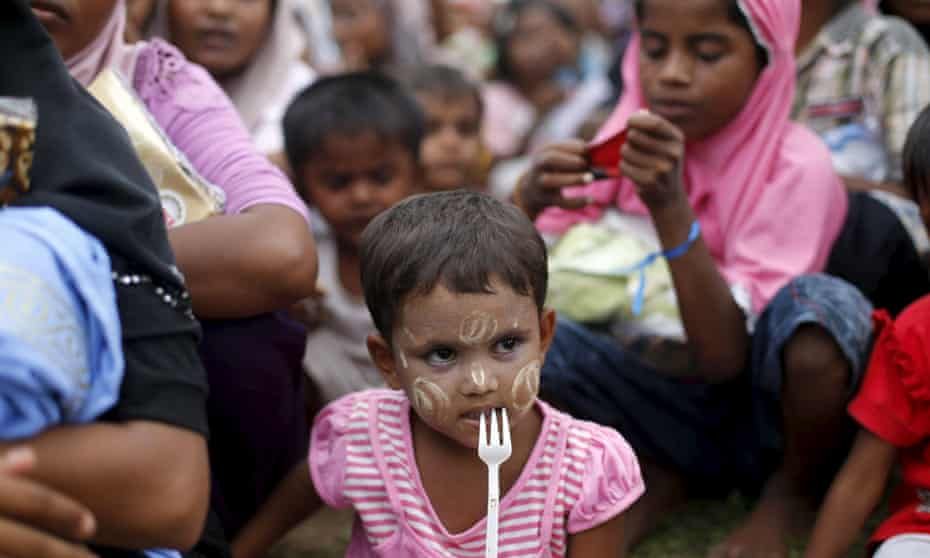 Rohingya migrant children who arrived in Indonesia by boat in May 2015.