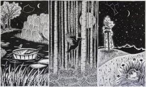Les illustrations Dart, Midnight Sun et Witching Hour de Tiffany Francis-Baker tirées de son livre Dark Skies.
