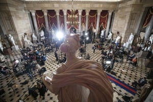 Statuary Hall, near the House floor, is set up for the State of the Union address.
