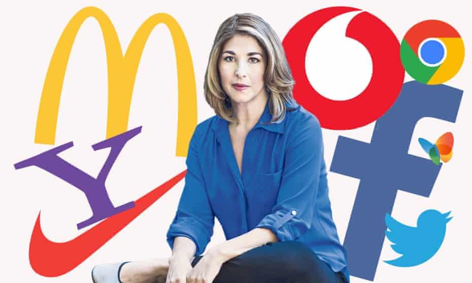 Naomi Klein with some brand logos