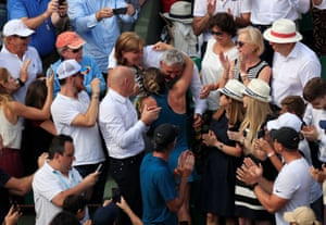 Simona Halep celebrates with her parents; Tania and Stere.