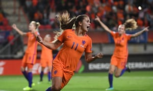 Lieke Martens celebrates Bright's own goal.