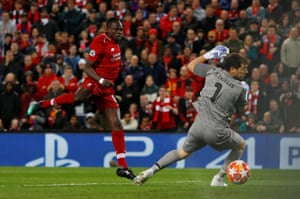 Liverpool's Sadio Mane nets but his effort is then disallowed