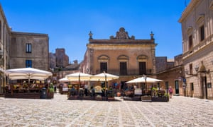 Italy Sicily Province of Trapani Erice Old town Piazza Umberto