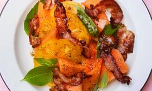 Pancetta and cantaloupe salad on a plate