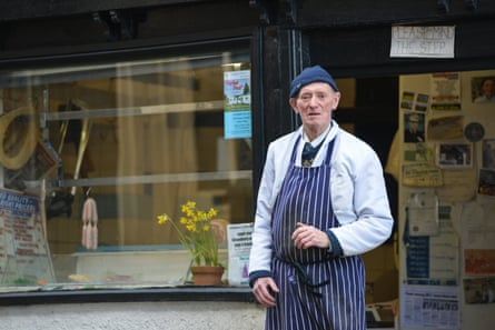 Butcher Frank Fisher outside his shop in Dronfield in 2017.