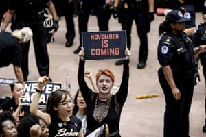 Hundreds of protesters took over the atrium of a Senate office building on 4 October.