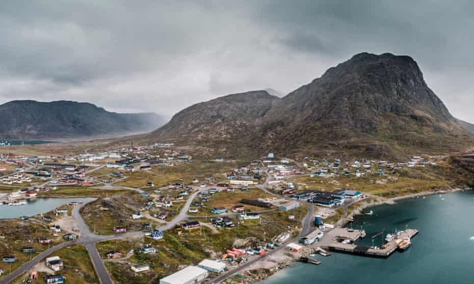 Aerial view of Narsaq in Greenland.