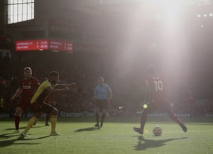 Sadio Mané on the attack against Watford at a sun-kissed Anfield.