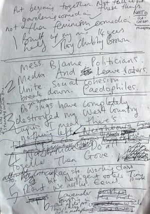 'My job is to make politics absurd. I'm becoming increasingly irrelevant' … Christie's notes.