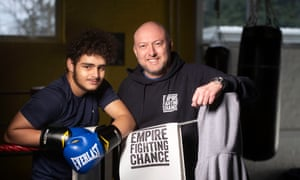 George Silva (left) with Martin Bisp in the gym.