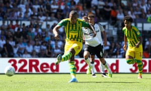 Kenneth Zohore scores from the spot to equalise at Pride Park