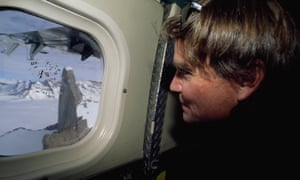 Alex Lowe glances at Rakekniven, a granite cliff he was to climb in the Filchner mountains, Antarctica, in 1996.
