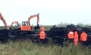 Contractors begin the search at Braggan bog in County Monaghan