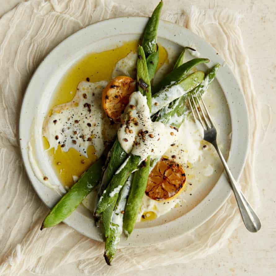 Anna Jones' charred runner beans with lemon and yoghurt