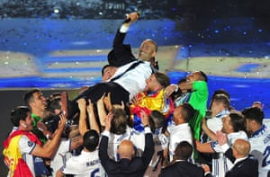 Zinedine Zidane is lifted by Madrid's players, including Casemiro, the day after the club won the 2017 Champions League final.