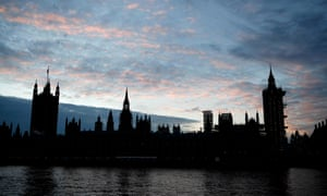 The sun setting behind the Houses of Parliament this afternoon.
