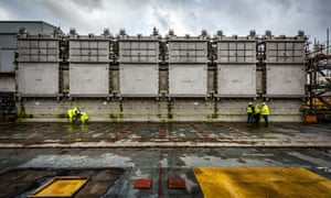 Doors have been installed in a huge silo filled with nuclear waste