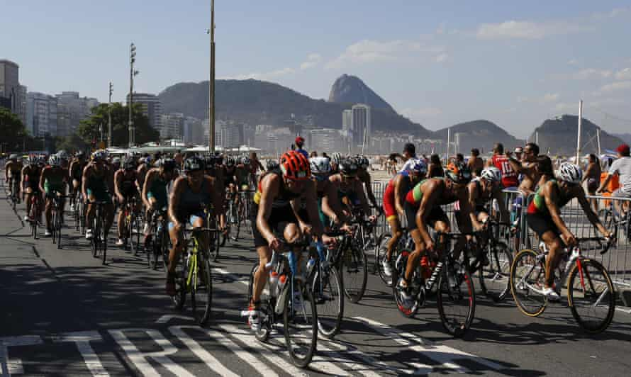 Sugar Loaf mountain provides a backdrop for the men's triathlon ITU World Olympic Qualification event, in Rio de Janeiro