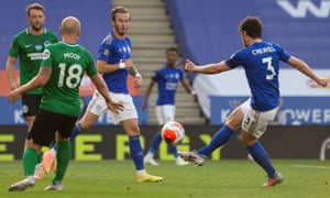 Ben Chilwell goes clsoe to scoring.