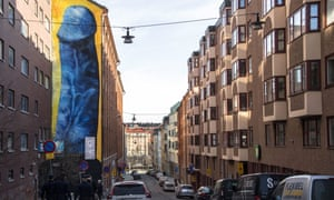 Giant phallus painting on side of building, Stockholm, Sweden