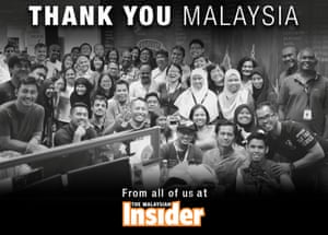 The Malaysian Insider, an independent news site that was blocked by the Malaysian government, has announced it is to close. This is the image that appears on its website now.