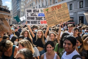Students call for action against climate change in Rome, Italy
