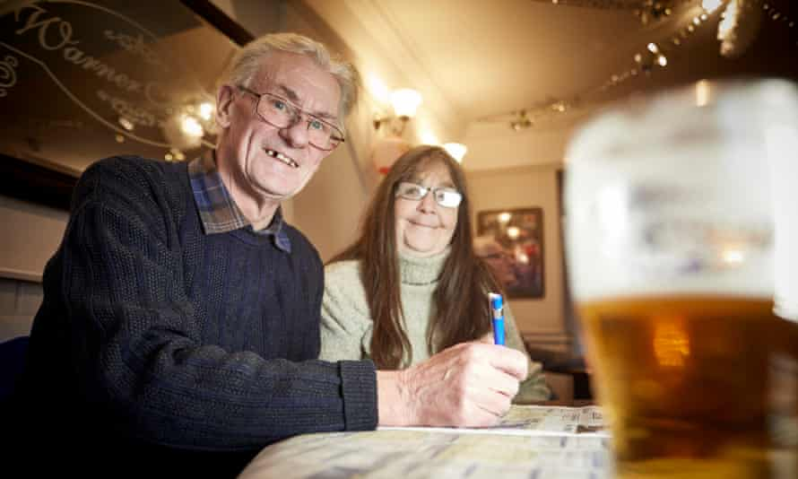 David Pickup and Kim McMahon in the Warner Arms in Accrington town centre.